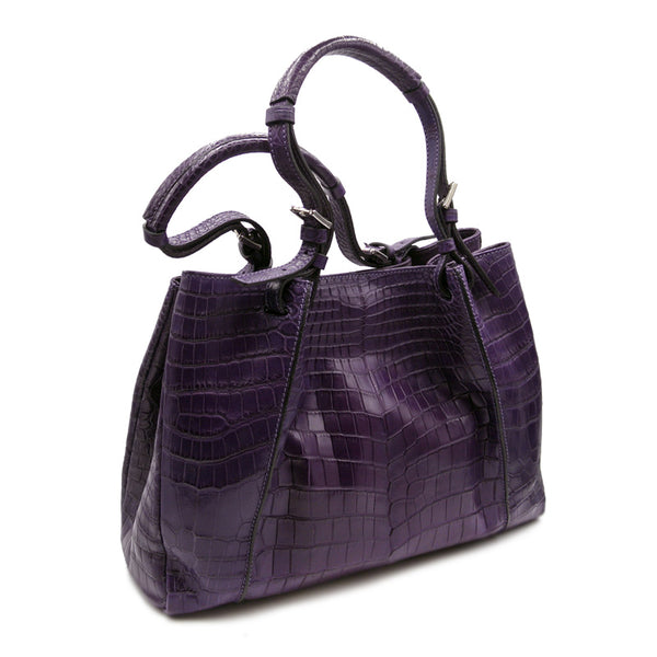 30-650-VIO THE VICTORIA Gracen Nile Crocodile Handbag, Violet