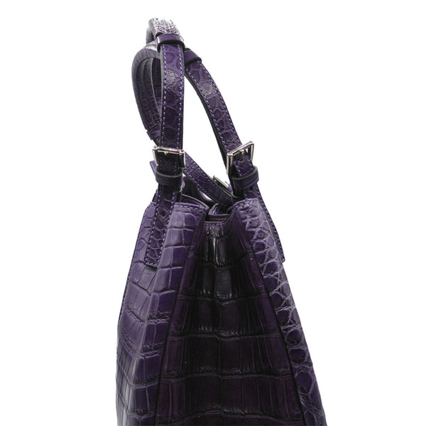 THE VICTORIA Gracen Nile Crocodile Handbag, Violet