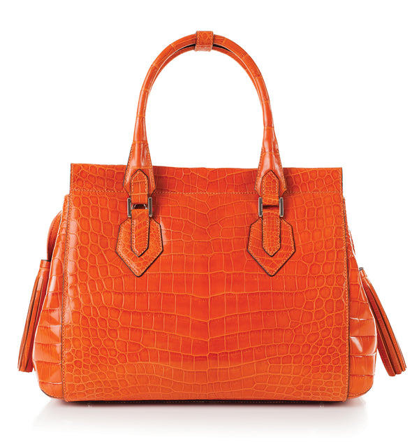 30-653-ORG THE GIZELLE Gracen Nile Crocodile Handbag, Orange
