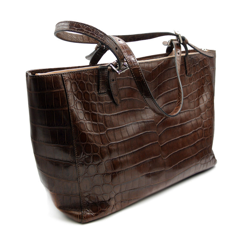 30-655-BRN THE ISABEL Gracen Nile Crocodile Handbag, Brown