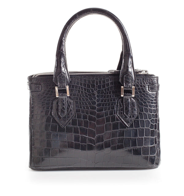 30-657-BLK THE JULIETTE Gracen Nile Crocodile Handbag, Black