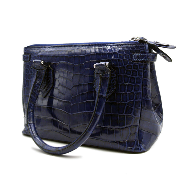 30-657-BLU THE JULIETTE Gracen Nile Crocodile Handbag, Blue