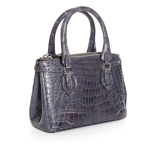 30-657-GRY THE JULIETTE Gracen Nile Crocodile Handbag, Gray