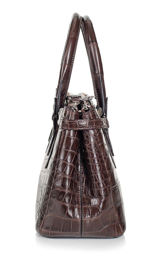 30-657-NIC THE JULIETTE Gracen Nile Crocodile Handbag, Nicotine