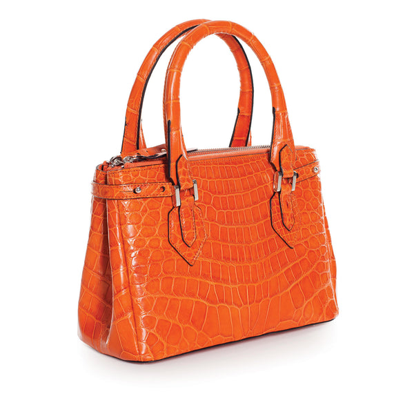 30-657-ORG THE JULIETTE Gracen Nile Crocodile Handbag, Orange