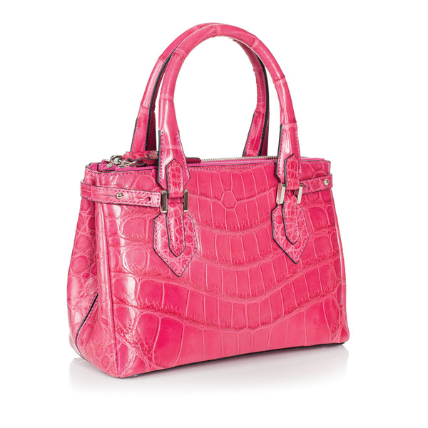 30-657-PNK THE JULIETTE Gracen Nile Crocodile Handbag, Pink
