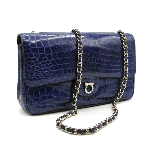 THE CHARLOTTE Gracen Nile Crocodile Handbag, Blue