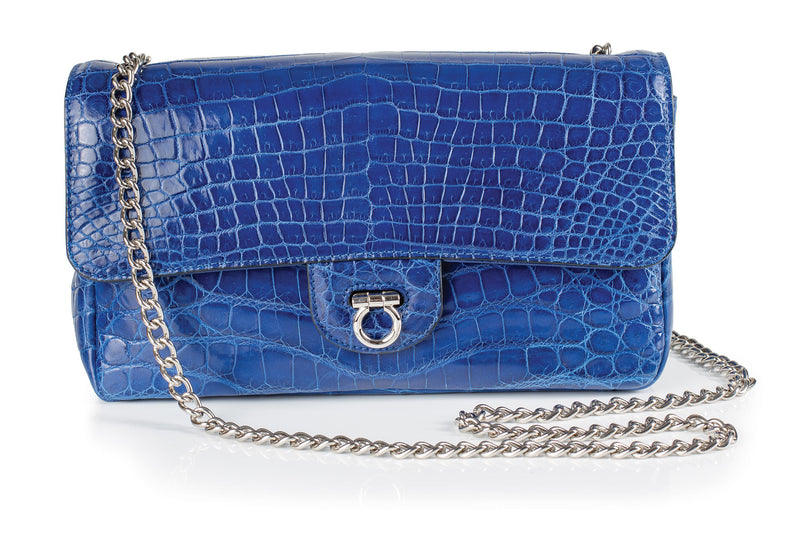30-660-BLU THE CHARLOTTE Gracen Nile Crocodile Handbag, Blue