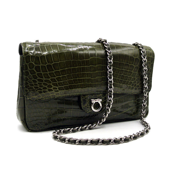 THE CHARLOTTE Gracen Nile Crocodile Handbag, Green