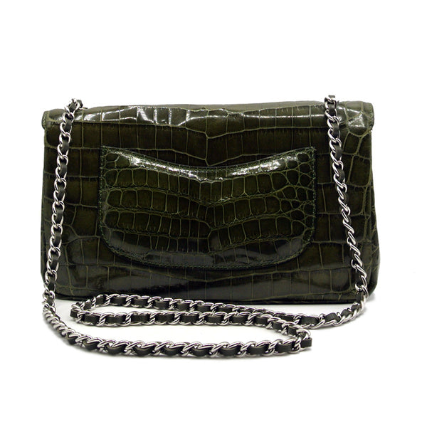 30-660-GRN THE CHARLOTTE Gracen Nile Crocodile Handbag, Green
