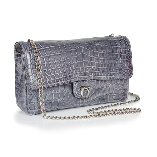 30-660-GRY THE CHARLOTTE Gracen Nile Crocodile Handbag, Gray