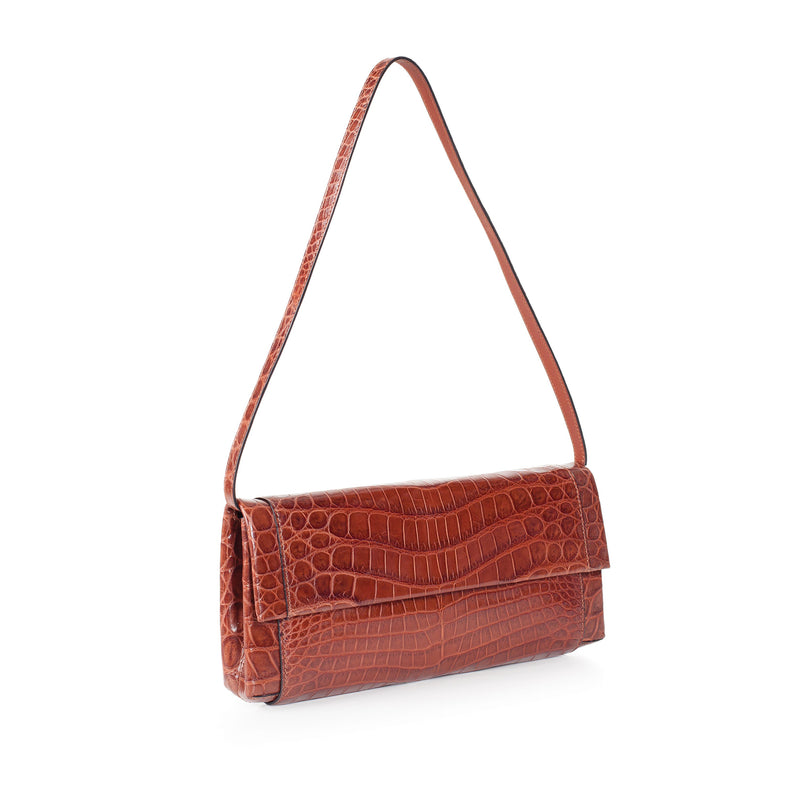 THE OLIVIA Gracen Nile Crocodile Handbag, Brown