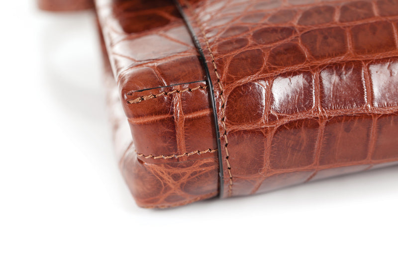 30-661-BRN THE OLIVIA Gracen Nile Crocodile Handbag, Brown