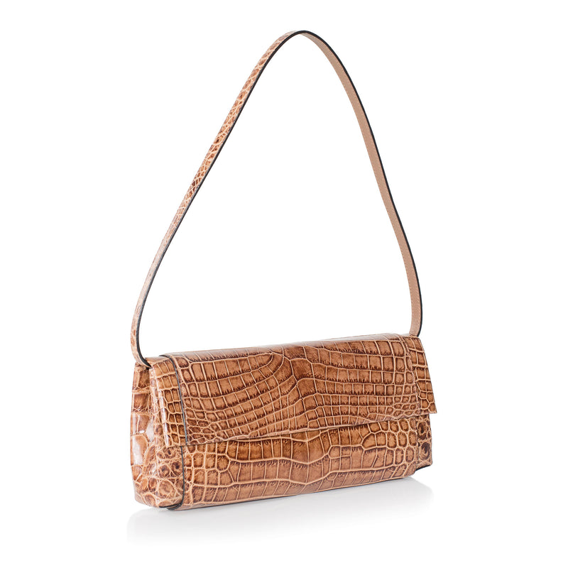 30-661-CAP THE OLIVIA Gracen Nile Crocodile Handbag, Cappuccino