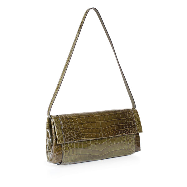 30-661-GRN THE OLIVIA Gracen Nile Crocodile Handbag, Green