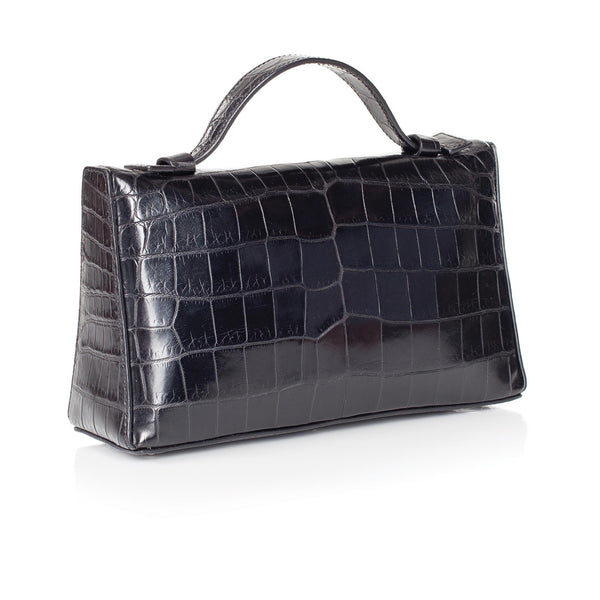 30-662-BLK THE SOPHIE Gracen Nile Crocodile Handbag, Black