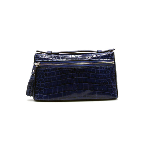 30-662-BLU THE SOPHIE Gracen Nile Crocodile Handbag, Blue