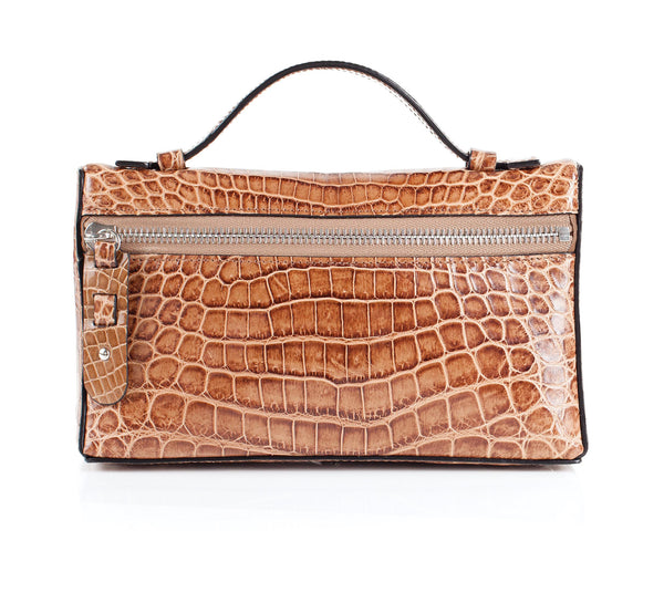 30-662-CAP THE SOPHIE Gracen Nile Crocodile Handbag, Cappuccino
