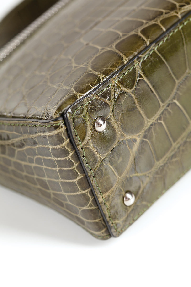 30-662-GRN THE SOPHIE Gracen Nile Crocodile Handbag, Green
