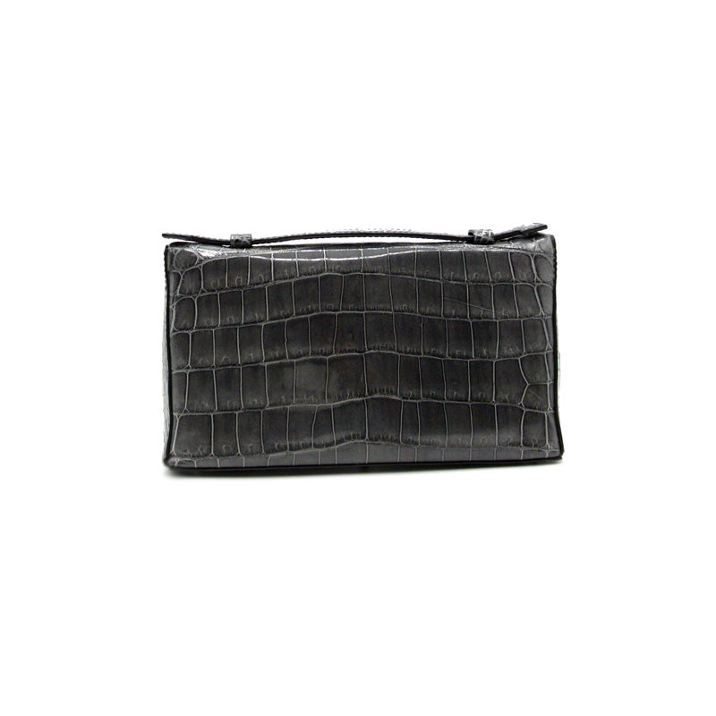 30-662-GRY THE SOPHIE Gracen Nile Crocodile Handbag, Gray