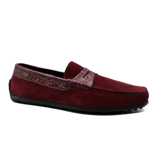 31-160-BDX MONZA Sueded Calfskin with Crocodile Driver, Bordeaux