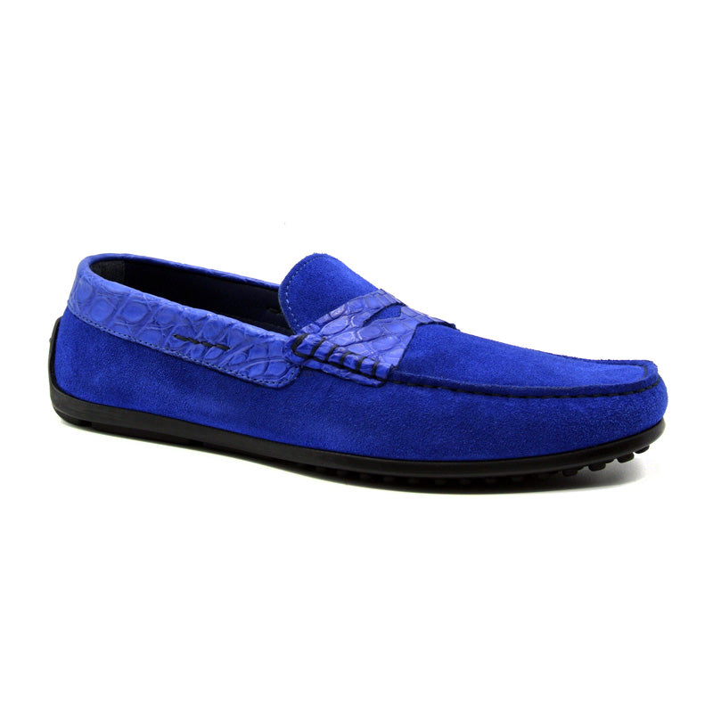 31-160-BLU MONZA Sueded Calfskin with Crocodile Driver, Royal Blue