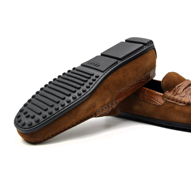MONZA Sueded Calfskin with Crocodile Driver, Cognac