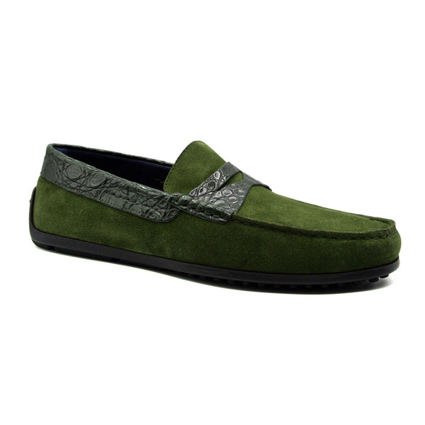 31-160-GRN MONZA Sueded Calfskin with Crocodile Driver, Green
