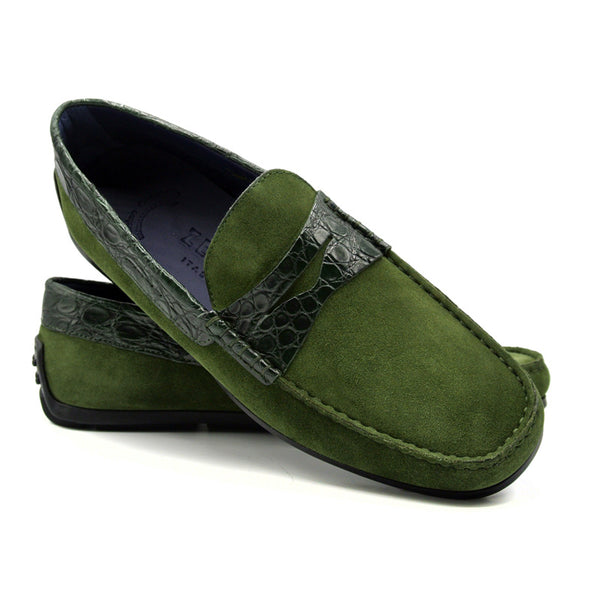 MONZA Sueded Calfskin with Crocodile Driver, Green