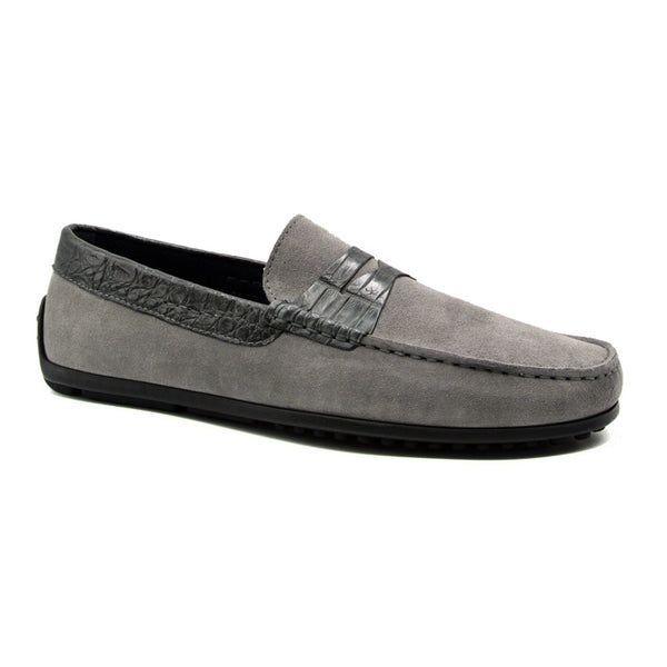 31-160-GRY MONZA Sueded Calfskin with Crocodile Driver, Grey