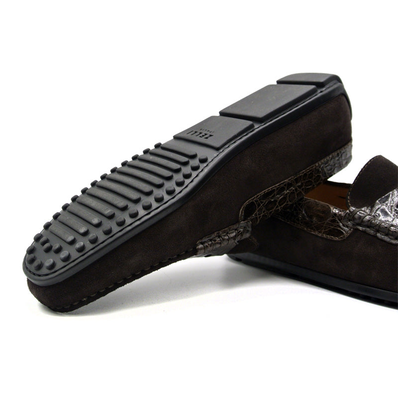 31-160-NIC MONZA Sueded Calfskin with Crocodile Driver, Nicotine
