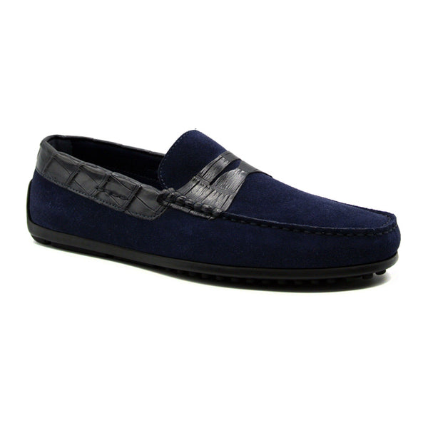31-160-NVY MONZA Sueded Calfskin with Crocodile Driver, Navy