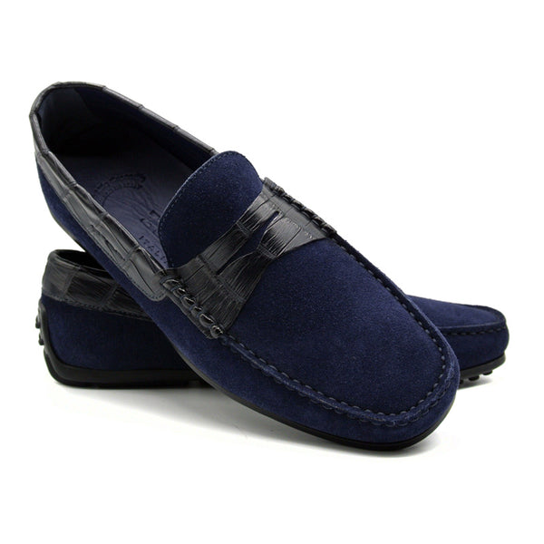 MONZA Sueded Calfskin with Crocodile Driver, Navy