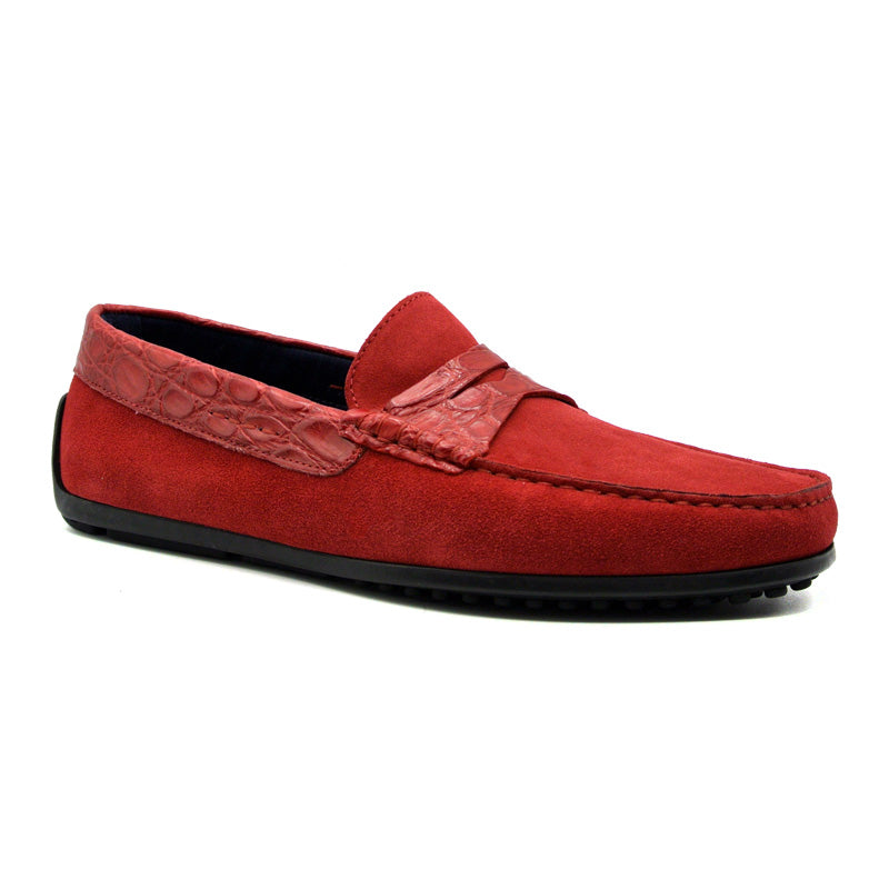 31-160-RED MONZA Sueded Calfskin with Crocodile Driver, Red