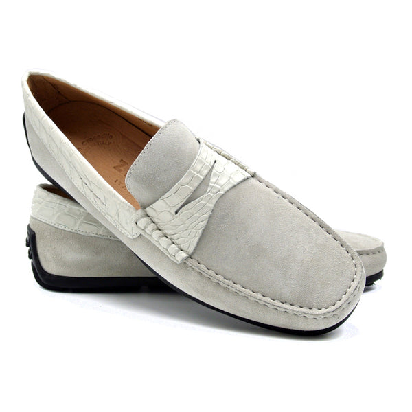 31-160-WHT MONZA Sueded Calfskin with Crocodile Driver, White