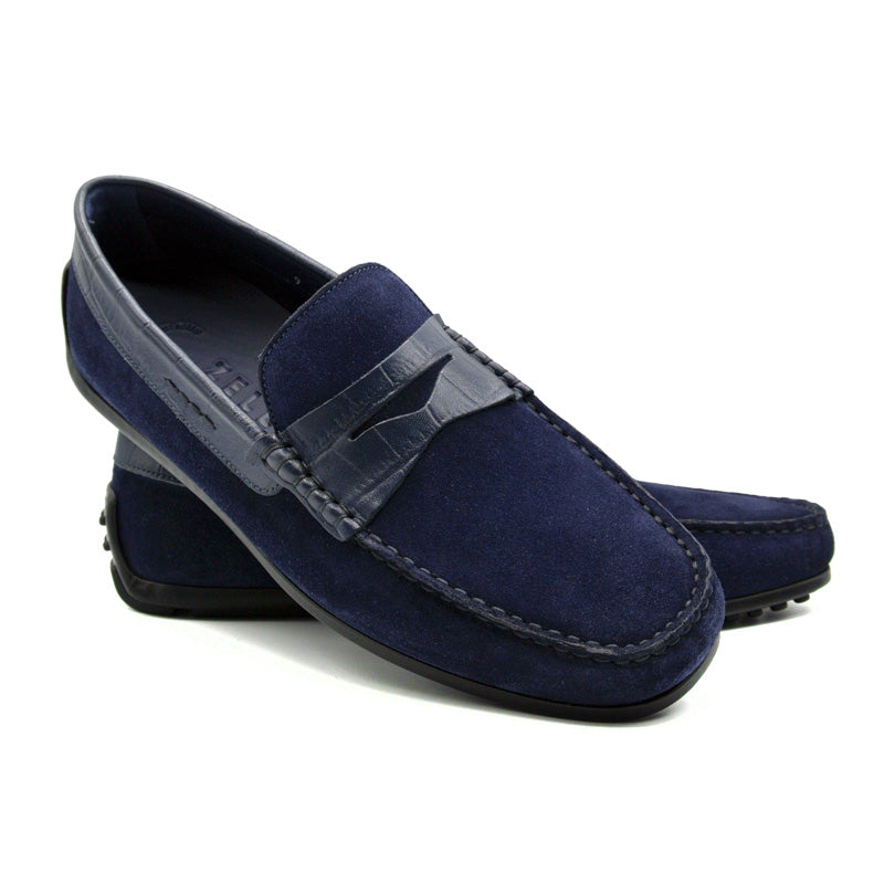 31-161-NVY MONZA Sueded Calf & Crocodile Embossed Driver, Navy