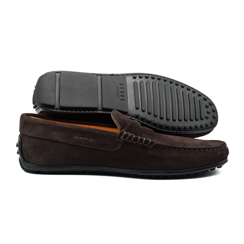 36-101-DBR MONZA Sueded Italian Calfskin Driver, Dark Brown