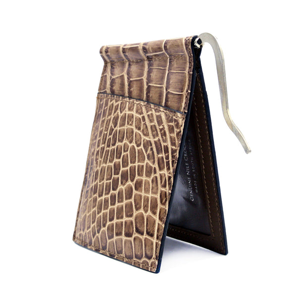 Gracen Crocodile Money Clip, Cappuccino