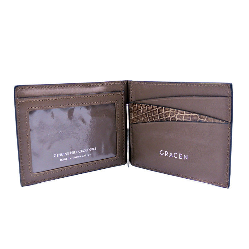 40-670-CAP Gracen Crocodile Money Clip, Cappuccino