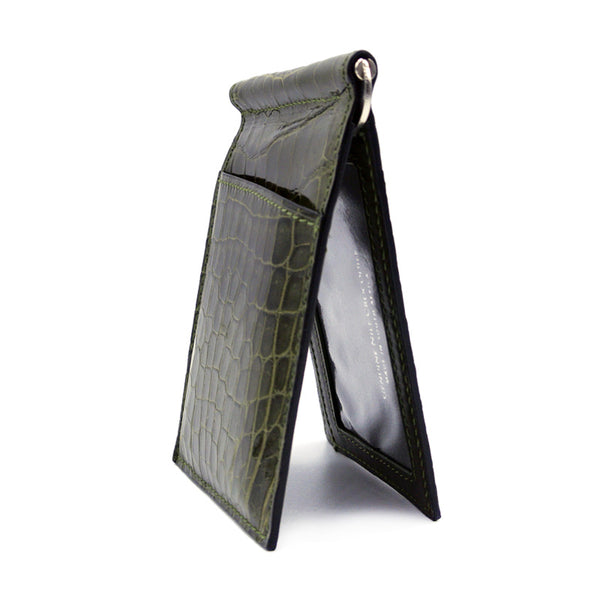 Gracen Crocodile Money Clip, Green