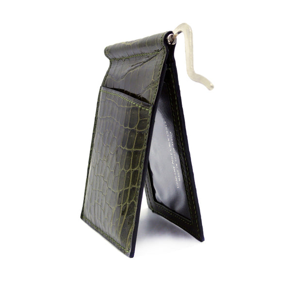 40-670-GRN Gracen Crocodile Money Clip, Green