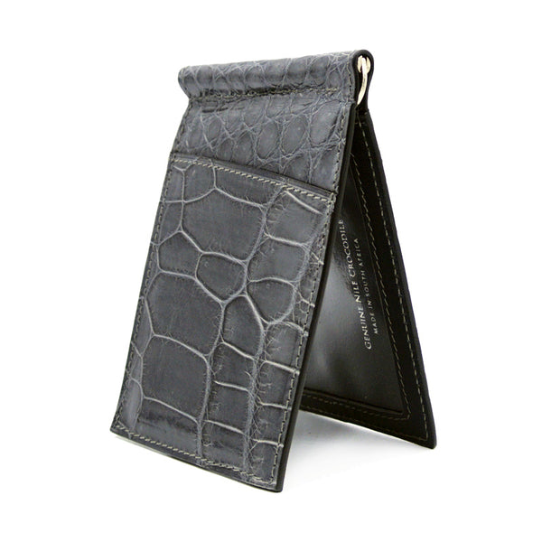 40-670-GRY Gracen Crocodile Money Clip, Gray