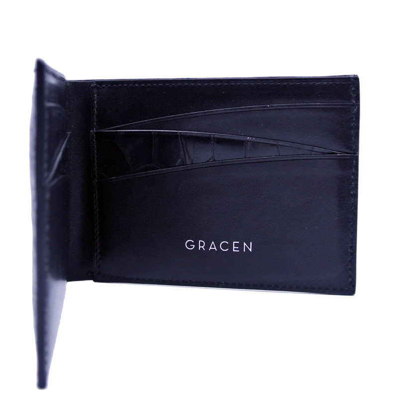 40-671-BLK Gracen Crocodile Bifold, Black