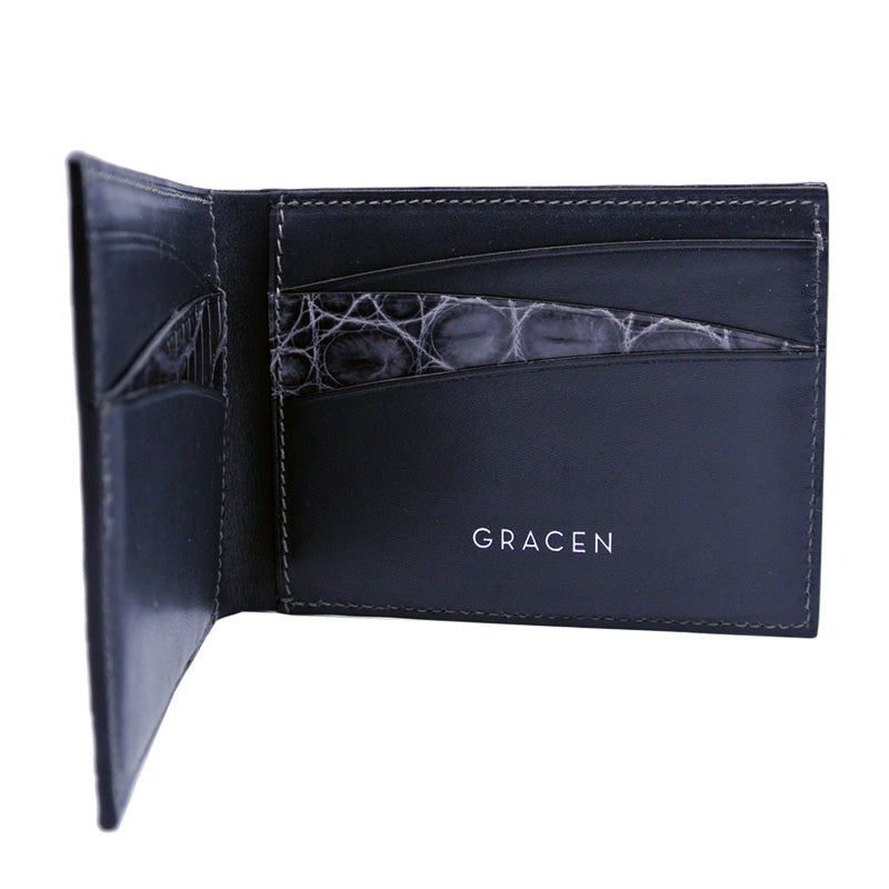 40-671-GRY Gracen Crocodile Bifold, Gray
