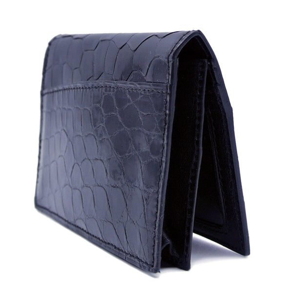 40-672-BLK Gracen Crocodile Card Case, Black