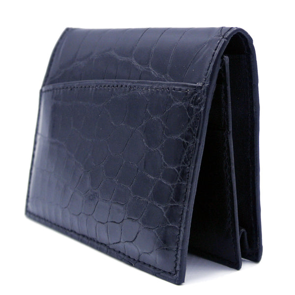 Gracen Crocodile Card Case, Black