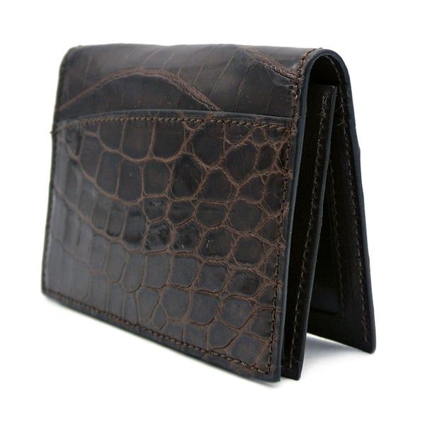 Gracen Crocodile Card Case, Brown
