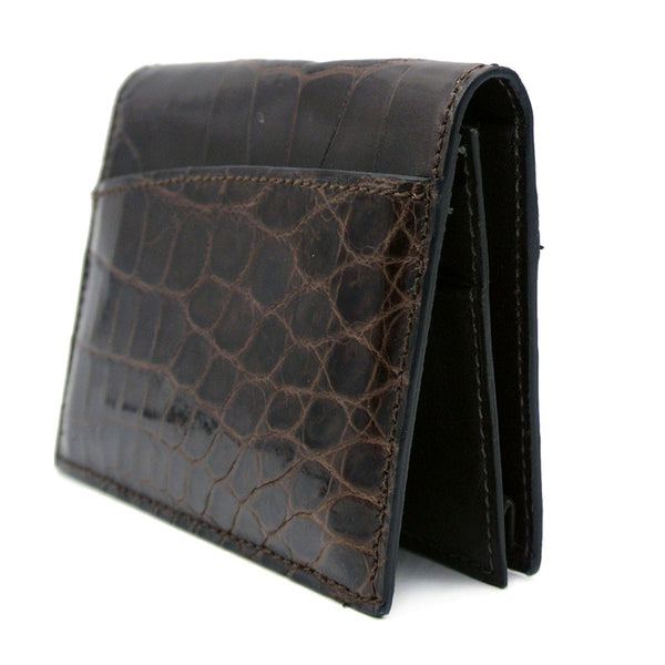 40-672-BRN Gracen Crocodile Card Case, Brown