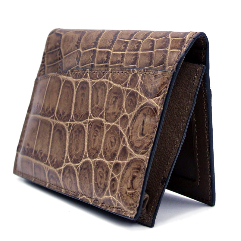 40-672-CAP Gracen Crocodile Card Case, Cappuccino