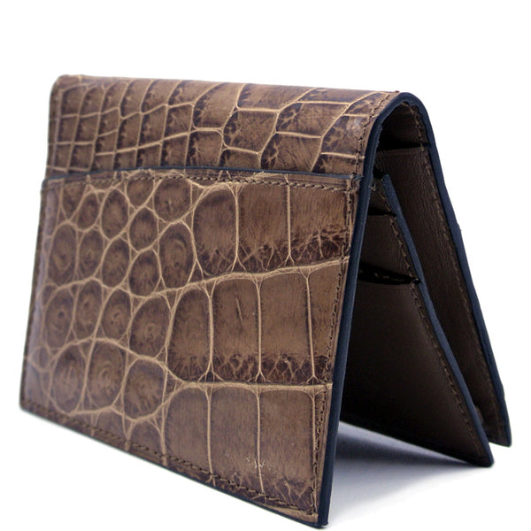 Gracen Crocodile Card Case, Cappuccino